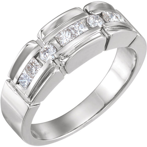 Men's White Gold and Diamond Accented Ring