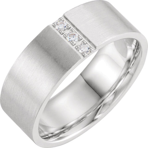 14K White Gold Diamond Band with Satin Finish