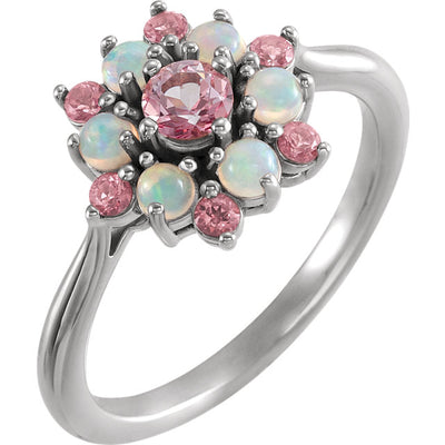 14K White Gold Pink Topaz & Ethiopian Opal Floral-Inspired Ring