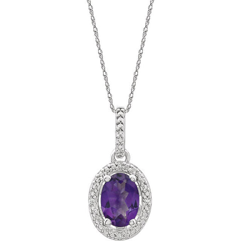 Sterling Silver Gemstone & Diamond Halo-Style Necklace