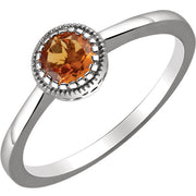14K White Gold Birthstone Ring