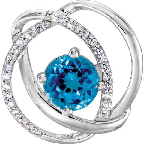14K White Gold & Swiss Blue Topaz Diamond Accented Pendant