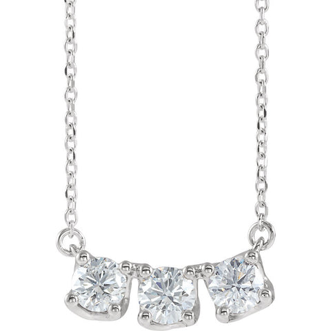 14K White Gold Diamond Three-Stone Curved Bar Necklace