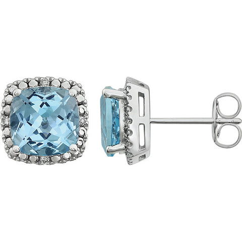 Gemstone & Diamond Cushion 4-Prong Halo-Style Earrings