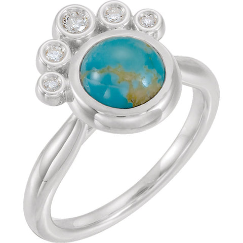 14K White Gold Kingman Turquoise & 1/8 CTW Diamond Ring