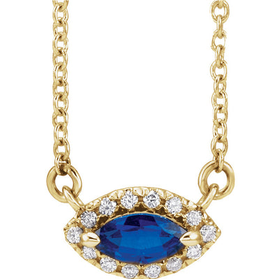 "14K Yellow Gold, Genuine Blue Sapphire Marquise Cut & .06 CTW Diamond 16"" Necklace. Eye design."