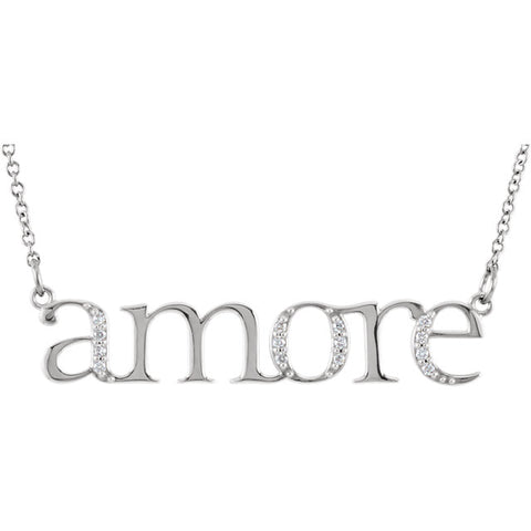 "14K White .06 CTW Diamond ""Amore'"" 16.5"" Necklace"
