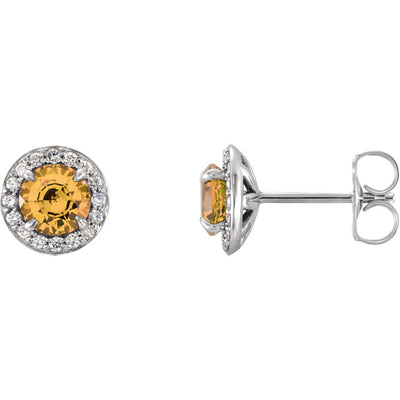 Gold & Gemstone & Diamond Halo-Style Earrings