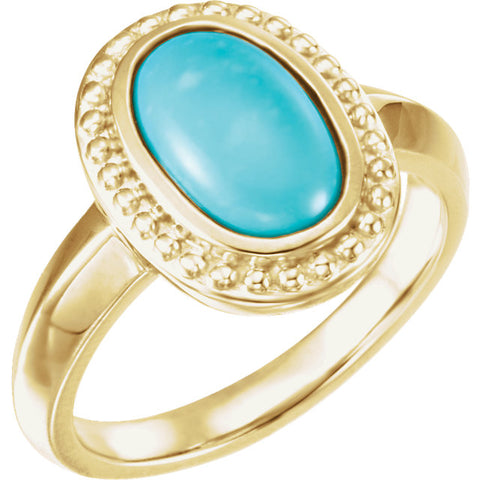 Gold and Genuine Turquoise Beaded Ring