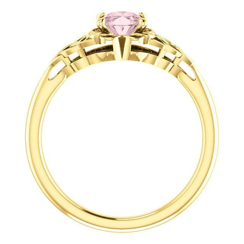 14K Morganite Celtic-Inspired Solitaire Ring