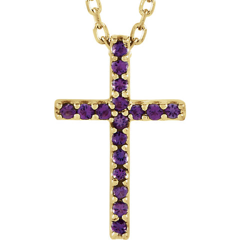 Petite Gemstone Cross Necklace or Pendant