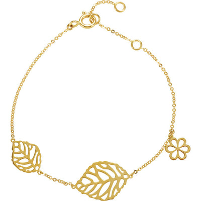 14K Yellow Gold Leaf & Floral-Inspired Bracelet