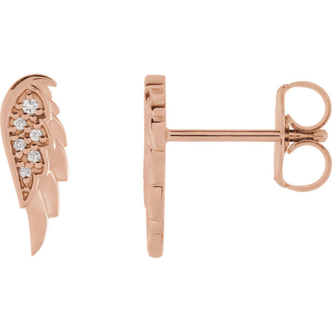 14K Gold .03 CTW Diamond Angel Wing Earrings