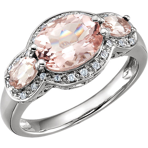 14K White Gold and Morganite & 1/10 CTW Diamond Accented Three-Stone Ring