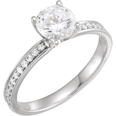 Charles & Colvard Moissanite® & Diamond Accented Engagement Ring