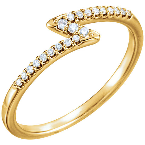 Diamond Accented Lightning Stackable Ring