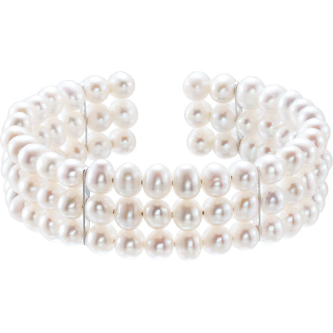 Freshwater Cultured Pearl 3 Row Bangle Bracelet