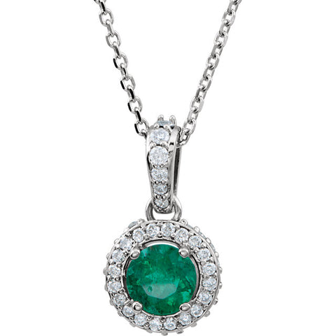 14K Gold  Gemstone  & 1/5 CTW Diamond Halo-Style Necklace