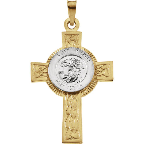 St. Michael 14K Gold Cross Pendant