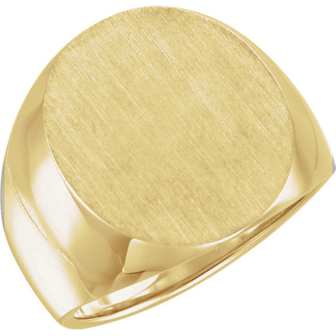Men's Closed Back 14K Solid Gold Signet Ring