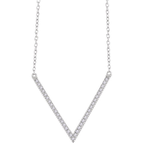 "14K Gold 1/6 CTW Diamond ""V"" 16-18"" Necklace"