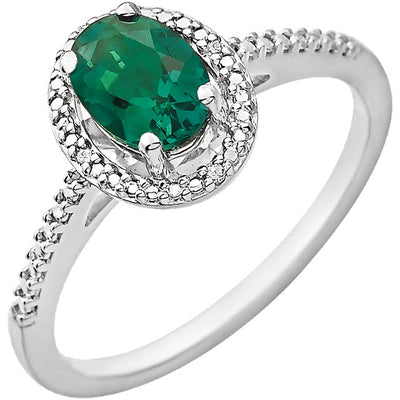 Accented Gemstone Halo-Style Ring