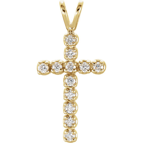14K White 1/8 CTW Diamond Cross