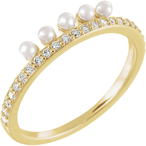 Accented Stackable Pearl Ring