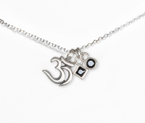 Silver Black Spinel OM Necklace - Designed by Satya