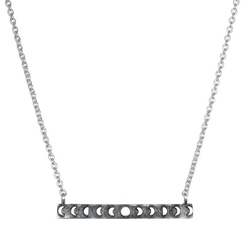 Silver Moon Phases Bar Necklace - Designed by Satya
