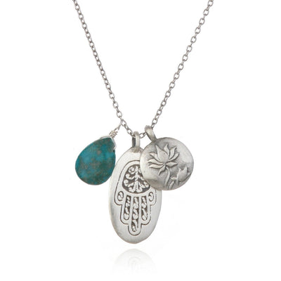 Turquoise Hamsa Lotus Charm Necklace - Designed by Satya