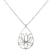 Lotus Necklace - Sterling Silver - Teardrop Design - Designed by Satya