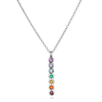 Multi Gemstone Sterling Silver Chakra Necklace - Designed by Satya