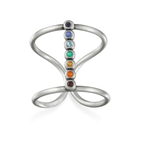 Multi Gemstone Sterling Silver Chakra Ring - Designed by Satya