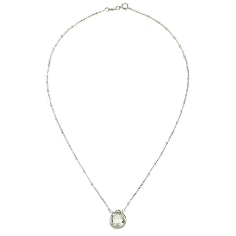 Green Amethyst Silver Necklace - AurumLuxe Jewerly - Designed by Satya