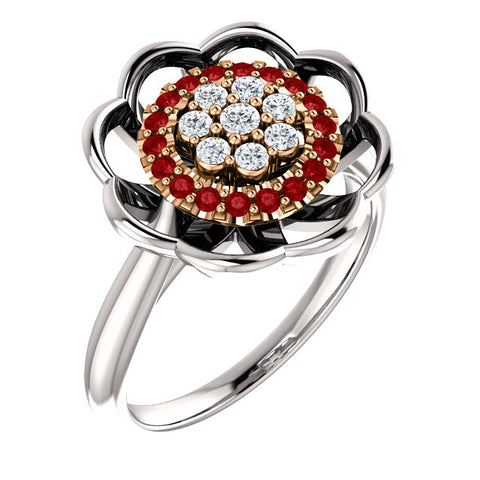 White Gold & Ruby & Diamond Halo-Style Cluster Ring