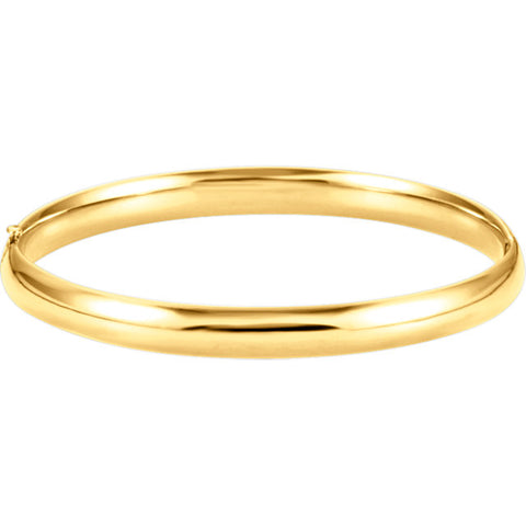 14K Gold 6.5mm Hinged Bangle Bracelet