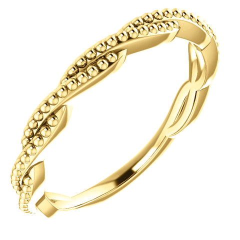 14K Gold Stackable Twisted Beaded Ring