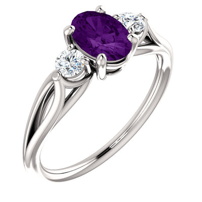 14K White Gold Amethyst & 1/5 CTW Diamond Three-Stone Ring