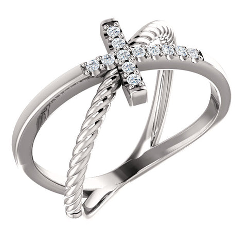 Diamond Cross Rope Ring
