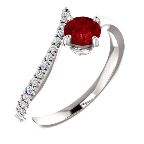 Gemstone & Diamond Bypass Ring