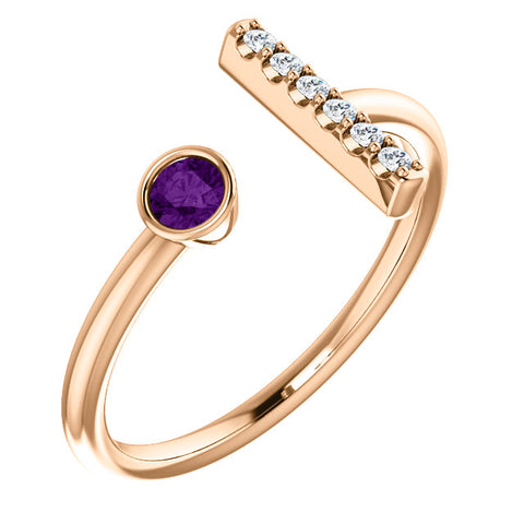 Gold and Gemstone Diamond Accented Bar Ring
