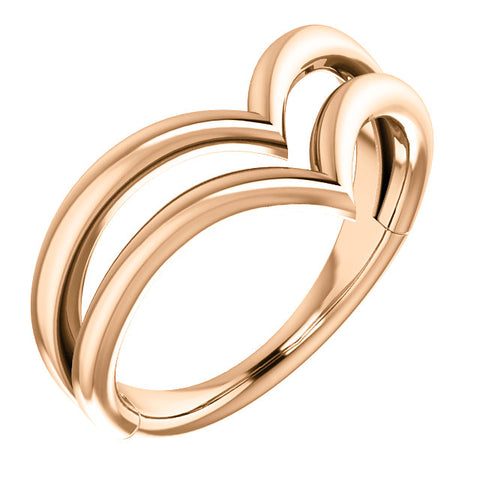 "14K Gold Double ""V"" Ring"
