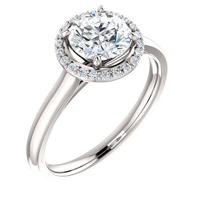 14K Gold Round Forever One™ Moissanite & 1/10 CTW Diamond Ring
