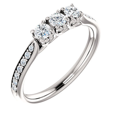 14K White 1/3 CTW Diamond Three-Stone Anniversary Band