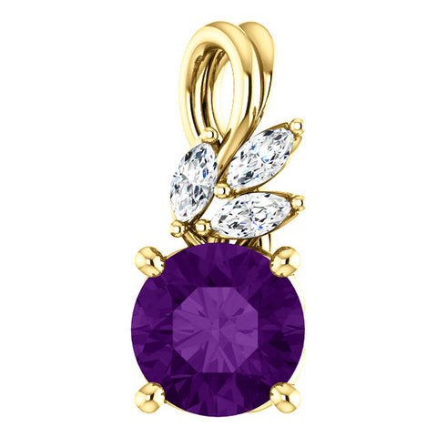 Floral-Inspired Gold & Gemstone Diamond Pendant