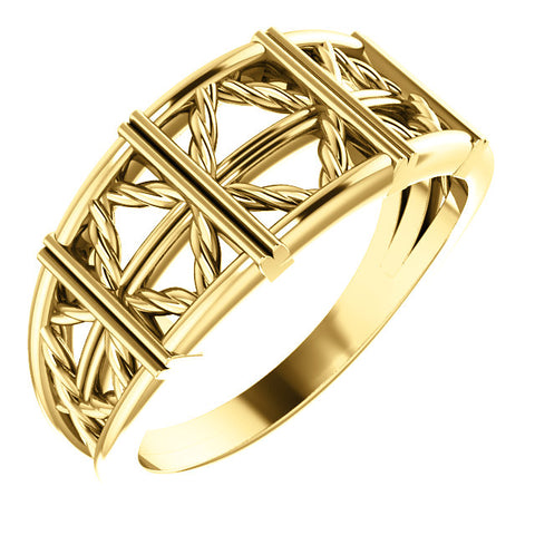 14K Gold Stackable Lattice Ring.