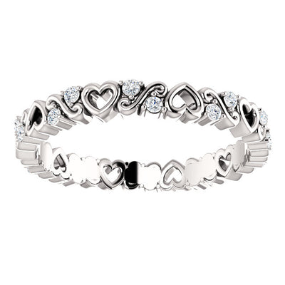 14K Gold 1/6 CTW DiamondHeart Eternity Band.
