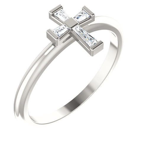Diamond Stackable Cross Ring