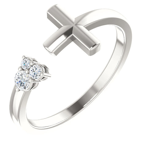 Gold & Diamond Negative Space Cross Ring